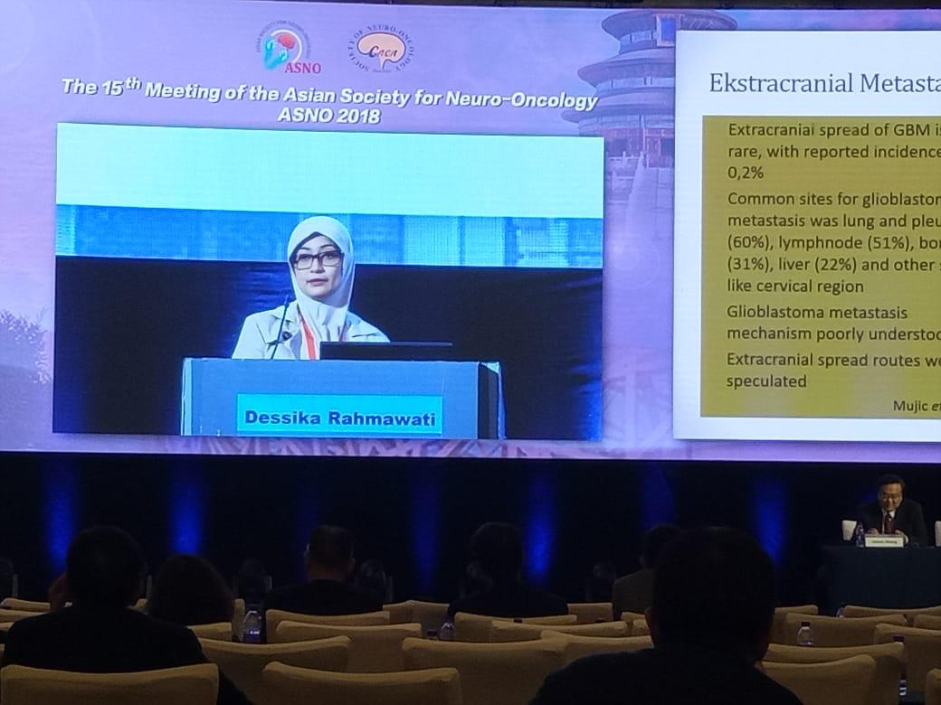 dr. Dessika Rahmawati, SpS, M.Biomed as an invited speaker of The 15th Meeting of the Asian Society for Neuro-Oncology/ ASNO Beijing 2018
